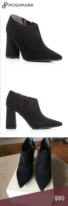 """New Marc Fisher Jayla Heel Booties! A flared block heel paired with a pointed toe makes this suede scene-stealer by Marc Fisher an of-the-moment way to rock mod style. Size 8 1/2! Fits true to size. Elastic goring at inside for a flexible fit Pointed toe; functional inside zip 3.5"""" heel Marc Fisher Shoes Ankle Boots & Booties"""