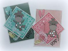 Schattige babykaartjes met op de achtergrond de stansmal Gerti's Block Molds 6002/1043 van Joy! Crafts