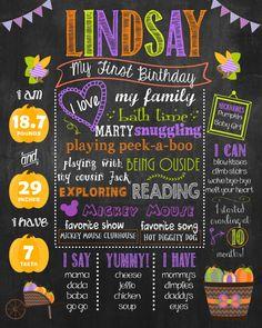 1st Birthday Pumpkin, Fall Chalkboard Poster, Milestones Poster DIGITAL FILE