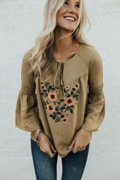 Embroidered Mustard Top | ROOLEE