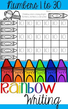 This resource is perfect for number recognition as well as handwriting. Just add crayons, markers or colored pencils and let the rainbow writing begin! Use these pages while working with the entire class, in small groups or even as homework. Includes numbers up to 30.