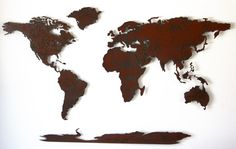 World Map Metal wall art 60 wide X 36 tall by FunctionalSculpture