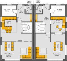 Fertighaus Doppelhaus Gemello SD 134 Grundriss EG