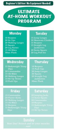 Ultimate at home workout For Beginners! NO EQUIPMENT NEEDED. Printable version also available. Lose up to 5 pounds in a month without dieting! | Touch of A Blog