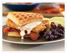 Pork Chop and Waffle Sandwiches with Maple Gravy