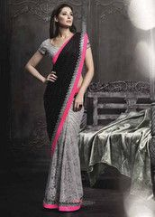 Black & Grey Color Smart Net Party Wear Sarees : Roshita Collection YF-31112