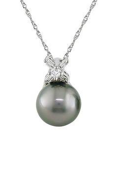 "14K White Gold 9-9.5mm Black Tahitian Pearl & Diamond ""X"" Pendant Necklace"