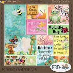 "Magic+Garden+5:+Pocket+Cards+{PU}+[pbd-mg5]+-+$1.95+:+Scrappy+Bee  Includes 12 pocket cards in various sizes from 2x2 to 6x4 as shown in the preview. Coordinates with ""Magic Garden"" kit and can be used as pocket cards or as additional elements and word art in your traditional layouts."