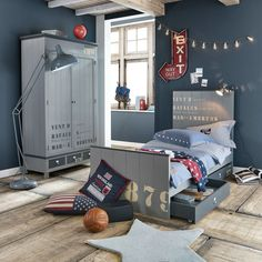 Juego de cama de cambray de algodón en azul 140 × 200 cm PRINCETON | Maisons du Monde