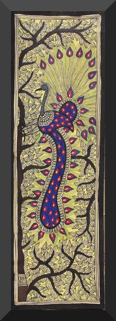 Madhubani Painting - A Peacock on Tree of Life