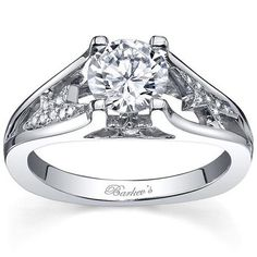 "Barkevs 14K White Gold ""Starnish"" Round Cut Split Shank Diamond Cathedral Engagement Ring Featuring 0.12 Carats Round Cut Diamonds. Style 7817LW"