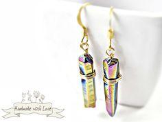 Ohrringe - EINHORN Regenbogen Ohrhänger Boho Ohrringe Quarz - ein Designerstück von Mont_Klamott bei DaWanda