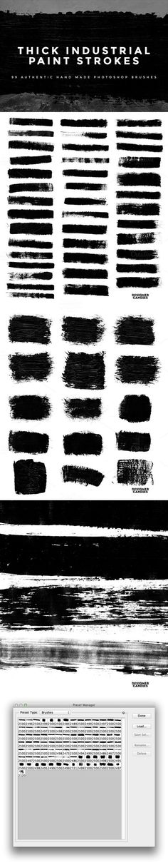99 Thick Industrial Paint Strokes. Photoshop Brushes. $10.00