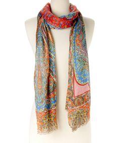 Look at this #zulilyfind! Red & Blue Paisley Silk-Wool Blend Scarf by  #zulilyfinds 25$ regular 175$