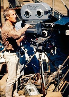 On the set of 'Butch Cassidy and the Sundance Kid,' 1969. Paul Newman.