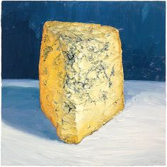 """STILTON!  This is a larger (24x24"""") oil painting of one of the KINGS OF CHEESE.  It's perhaps the best blue in the world.  I loved painting this large, with a ton of paint.  SOLD - prints available at :http://mikegeno.com/cheese%20album/pages/208_Stilton.htm"""