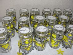Cute Way Of Dressing Up The Favors. Yellow And Gray Mu0027s With Some Scrapbook  Flowers