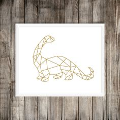 Geometric Dinosaur Art Print, Gold Long Neck, Brontosaurus, Geometrical Decor…