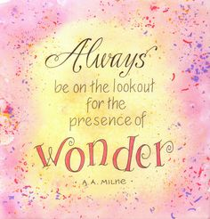 Wonder quote from the sketchbooks of Leslie Fehling. Done with ink and watercolor. The confetti look was created by wetting the paper and dropping shavings of watercolor pencil lead on it.