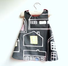 French Une Ville La Nuit (A City by Night) Reversible Pinafore top or dress - 6 months to 5Y - BASTILLE DAY SALE. $22.00, via Etsy.