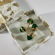 Manschettenknöpfe Gold 333 Jade edel Vintage Männer Herren rar