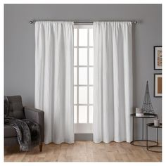 "Crosshatch Chenille Rod Pocket Window Curtain Panel Pair White (52""x108"") - Exclusive Home"