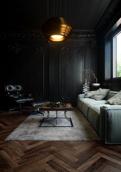 Black walls with herringbone timber flooring. Complete drama with bold style for inspiration for interior design. Interior Design Inspiration, Home Interior Design, Interior Architecture, Interior Decorating, Dark Living Rooms, Living Room Decor, Living Spaces, Black Rooms, Black Walls