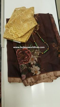 Discover thousands of images about Floral print organza sarees by AAVARANAA Saree Blouse Models, Pattu Saree Blouse Designs, Saree Blouse Patterns, Kalamkari Designs, Organza Saree, Silk Sarees, Cotton Saree, Kalamkari Saree, Fancy Sarees