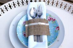 Burlap  napkin holders - set of 12 via Etsy