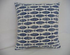 Scion Samaki Fish lino print ink Blue on by FrancishouseDesign, Craft Club, Fish Print, Fish Design, Pattern Blocks, Art Lessons, Printing On Fabric, Print Patterns, Cushions, Throw Pillows
