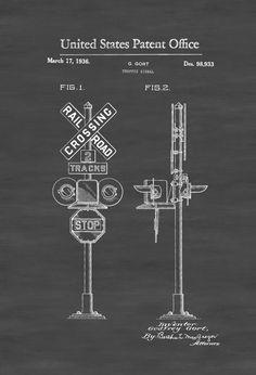 Railroad Crossing Sign Patent 1936 - Locomotive  Trains Railroad Railroad Decor Model Trains Train Decor by PatentsAsPrints