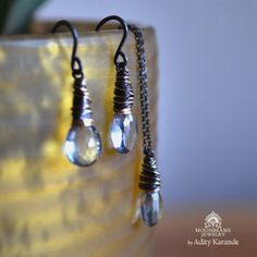 Moonbeams Jewelry by Adity Karande. Earrings, Necklace Sky Blue Quartz, Silver, Gold.