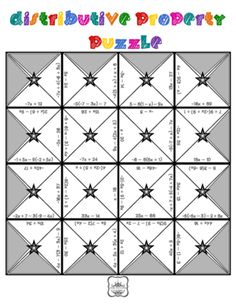 Distributive Property and Combining Like Terms  Puzzle from Under the Crystal Chandelier on TeachersNotebook.com -  (3 pages)  - Students will practice simplifying expressions by using the distributive property and combining like terms.  There are 24 different expressions for students to practice with.