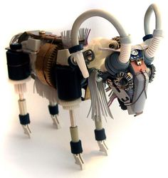 Electronics-sculptures made from broken electronics and machine parts, by Rhode Island artist Ann P. Smith, whose work has been exhibited across the United States http://www.burrowburrow.com/robots.html