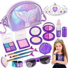 Amazon.com: Banvih Makeup Kit for Girls-Pretend Play Toy Makeup Set for Kids Toddlers with Princess Crown, Purse, Slap Bracelets, Lipstick, Sunglasses, Brush for Little Girls (Not Real): Toys & Games Little Girl Toys, Little Girl Gifts, Toys For Girls, Little Girls, Makeup Kit For Kids, Kids Makeup, Little Girl Makeup Kit, Makeup Toys, Makeup Set
