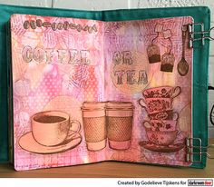 Art journal page by Godelieve Tijskens using Darkroom Door Coffee Time Stamp Set, Teacups Photo Stamp and Torn Text Texture Stamp.