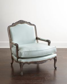 Bates Leather Bergere Chair, Light Blue