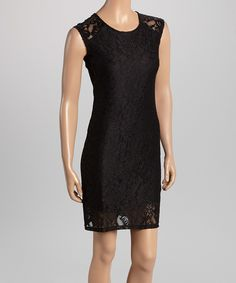 Loving this Modern Touch Black Lace Sheath Dress on #zulily! #zulilyfinds