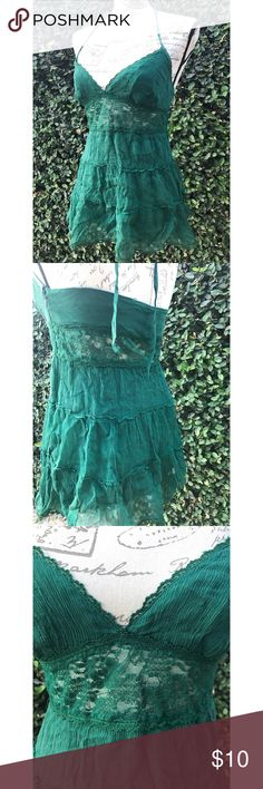 BEBE SILK AND LACE HALTER S Emerald green light and flirty. Hidden Zipper entry. No stains  or rips bebe Tops Camisoles