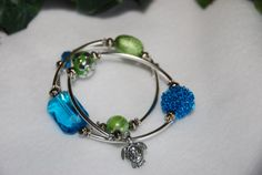 Blue and Green Sea Turtle Memory Wire by TheMajesticElephant, $24.00