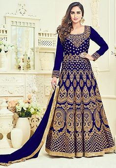 Embroidered Art Silk Abaya Style Suit in Royal Blue Anarkali Dress, Anarkali Suits, Abaya Fashion, Indian Fashion, Indian Dresses, Indian Outfits, Indian Clothes Online, Online Fashion Stores, Indian Designer Wear