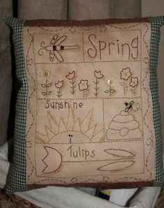 Handmade Primitive Spring Sampler  Pillow  Embroidery by stampinsk, $55.00