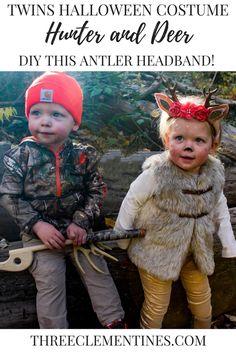 Twins Hunter and Deer Costume With DIY Antler Headband #halloween #costume #twins #hunter #deer #antler #diy