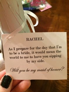 Cute and sweet maid of honor proposal