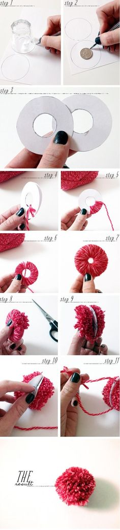 Diy pompoms- Instead of one strand of yarn, I used 6 at a time. Makes it go much faster!: