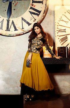 USD 103.92 Shilpa Shetty Black and Yellow Designer Salwar Suit  34298