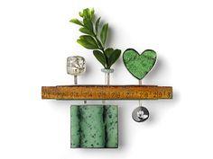 Jack Cunningham - Fragments - Brooch 2006 - white metal, garnet, green coral, wood, crystal