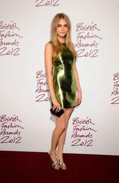 Cara Delevingne StyleChi Green Silver Metallic Shift Dress Peep Toe Heels British Fashion Awards 2012