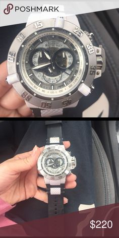 Men's Invicta watch Black and white rubber wristband silver watch good condition Invicta Accessories Watches