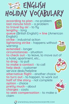 Intermediate English Holiday Vocabulary – Useful English for everyday use Intermediate English Holiday Vocabulary – Learn English Vocabulry English Vinglish, English Tips, English Phrases, English Idioms, English Study, English Lessons, English Grammar, French Lessons, English Class
